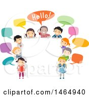 Poster, Art Print Of Group Of School Children Saying Hello Around A Sign