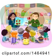 Clipart Of A Group Of School Children Learning About Produce At Story Time Royalty Free Vector Illustration
