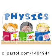 Clipart Of A Group Of School Children Studying Physics Under Text Royalty Free Vector Illustration