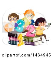 Clipart Of A Group Of School Children Studying Math Around Giant Books Royalty Free Vector Illustration