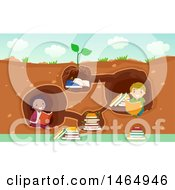 Clipart Of A Group Of School Children Reading Books In An Underground Library Royalty Free Vector Illustration