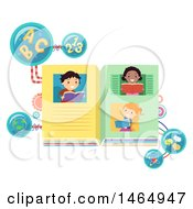 Poster, Art Print Of Group Of School Children Reading About Math Geography Science And Language