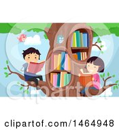 Group Of School Children Reading In A Library Tree