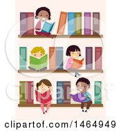 Group Of School Children Reading On Library Book Shelves