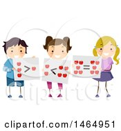 Clipart Of A Group Of School Children Holding Greater Than Less Than And Equal Flash Cards Royalty Free Vector Illustration