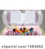 Clipart Of A Group Of School Children Watching A Video Royalty Free Vector Illustration