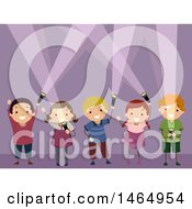 Clipart Of A Group Of Children Playing With Flashlights Royalty Free Vector Illustration