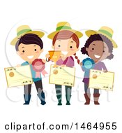 Clipart Of A Group Of Children Holding Gardening Awards Royalty Free Vector Illustration