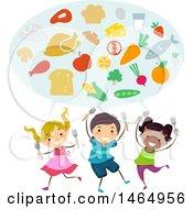 Group Of School Children Discussing Healthy Foods