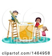 Clipart Of A Group Of Children Making A Giant Glass Of Orange Juice Royalty Free Vector Illustration by BNP Design Studio