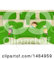 Clipart Of A Group Of Children In A Garden Maze Royalty Free Vector Illustration by BNP Design Studio