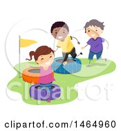 Clipart Of A Group Of Children Playing In A Tire Obstacle Course Royalty Free Vector Illustration