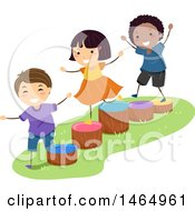 Clipart Of A Group Of Children Playing On Wood Stump Ladders Royalty Free Vector Illustration by BNP Design Studio