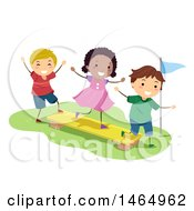 Clipart Of A Group Of Children Playing On A Balance Plank Royalty Free Vector Illustration by BNP Design Studio