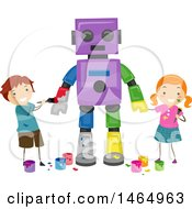 Poster, Art Print Of Boy And Girl Painting A Robot