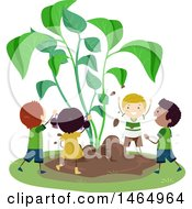 Clipart Of A Group Of School Children Gardening With Sprouts Royalty Free Vector Illustration by BNP Design Studio