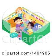 Clipart Of A Group Of School Children Playing In A Toy Pen Royalty Free Vector Illustration