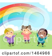 Group Of Happy Children Under A Rainbow