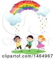 Fruity Rainbow Raining Down On A Group Of Children