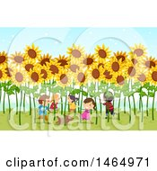 Clipart Of A Group Of Children Playing In A Field Of Giant Sunflowers Royalty Free Vector Illustration by BNP Design Studio
