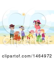 Poster, Art Print Of Group Of Children And A Woman Cleaning Up A Beach