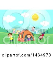 Clipart Of A Group Of Children Playing At A Campground Royalty Free Vector Illustration
