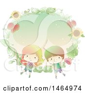 Clipart Of A Sketched Boy And Girl In A Fram Of Sunflowers Cabbage And Strawberries Royalty Free Vector Illustration by BNP Design Studio