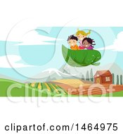 Clipart Of A Group Of Children Riding Af Lying Leaf Over A Farm Royalty Free Vector Illustration by BNP Design Studio