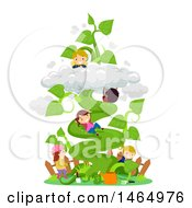 Clipart Of A Group Of Children Climbing A Giant Beanstalk In A Garden Royalty Free Vector Illustration