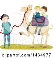 Clipart Of A Boy And Girl Riding A Camel Royalty Free Vector Illustration by BNP Design Studio