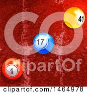 Poster, Art Print Of 3d Diagonal Row Of Bingo Or Lottery Balls Over Red Paint Texture