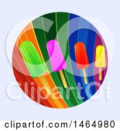 Clipart Of A Rainbow Circle With Colorful Ice Lollies Over A Light Gray Background Royalty Free Vector Illustration