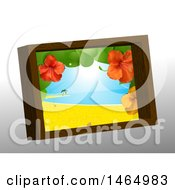 Poster, Art Print Of 3d Wooden Picture Frame With A Hibiscus And Tropical Beach Scene On Gray