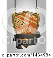 Clipart Of A Suspended Wooden Bingo And Black Ribbon Banner Shingle Sign Royalty Free Vector Illustration by elaineitalia