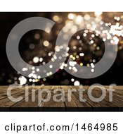 Poster, Art Print Of 3d Wood Surface Over Bokeh Flares
