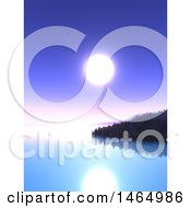 Clipart Of A Purple Sunset Sky And Still Bay Royalty Free Illustration