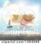 Poster, Art Print Of 3d Wood Surface With Blurred Sailboat And Island
