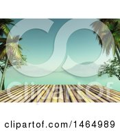 Clipart Of A 3d Wood Surface With A Tropical Bay Royalty Free Illustration