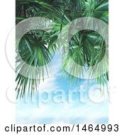 Poster, Art Print Of Border Of 3d Palm Tree Branches And Blue Sky