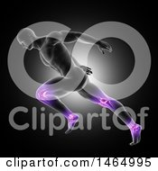 Clipart Of A 3d Anatomical Man Running With Purple Glowing Knee And Ankle Joints On Black Royalty Free Illustration