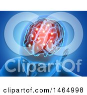Clipart Of A 3d Mans Head With Glowing Brain And Connections On Blue Royalty Free Illustration