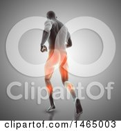 Clipart Of A 3d Man Running With Visible Glowing Muscles Used On Gray Royalty Free Illustration