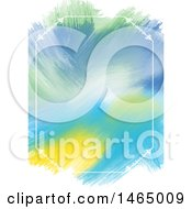 Clipart Of A White Fframe And Watercolor Strokes Background Royalty Free Vector Illustration