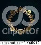 Poster, Art Print Of Round Golden Luxury Frame On Black