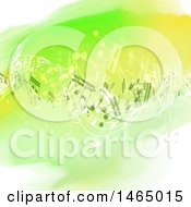 Clipart Of A Green Watercolor And Music Notes Background Royalty Free Vector Illustration