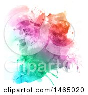 Clipart Of A Colorful Watercolor Splatters Background On White Royalty Free Vector Illustration