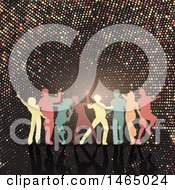 Clipart Of A Group Of Silhouetted Dancers Over Halftone Royalty Free Vector Illustration