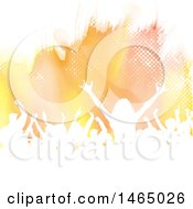 Clipart Of A Group Of Silhouetted Dancers Or Concert Goers Over Halftone And Watercolor Royalty Free Vector Illustration