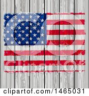 Painted American Flag On White Wood
