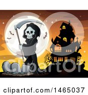 Grim Reaper Holding A Scythe In A Cemetery Near A Haunted House